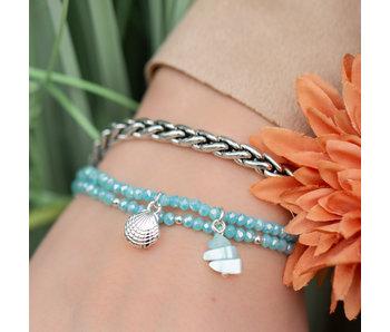 Biba Biba turqoise kralenset en metalen armband