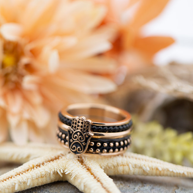 IXXXI Complete rosegoud ring met boho hand