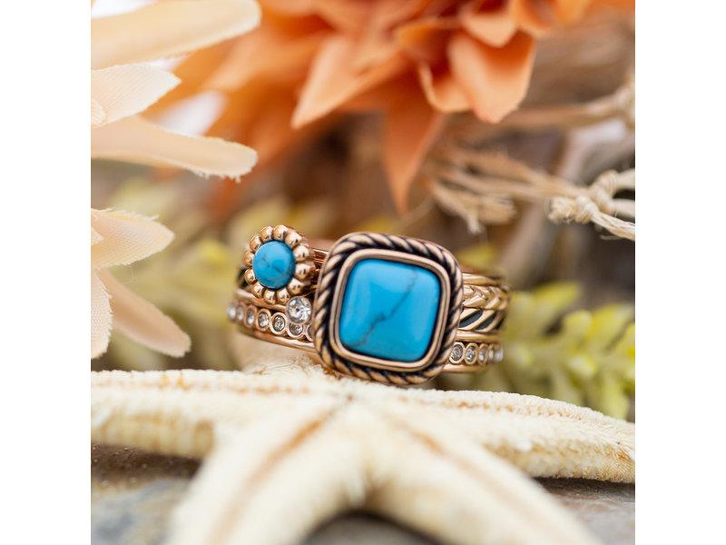 IXXXI Complete rosegoud ring met turquoise stenen