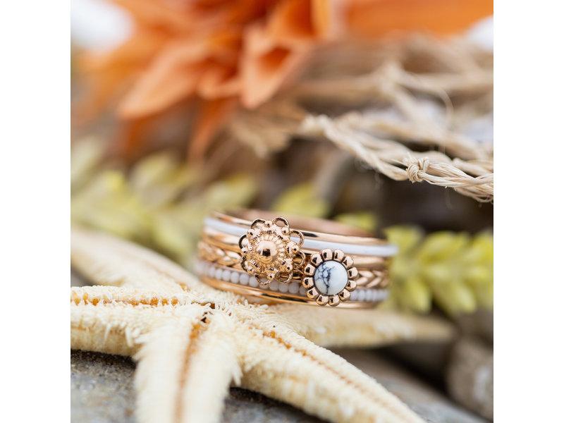 IXXXI Complete rosegoud ring met boho ring en zeeuwse knop