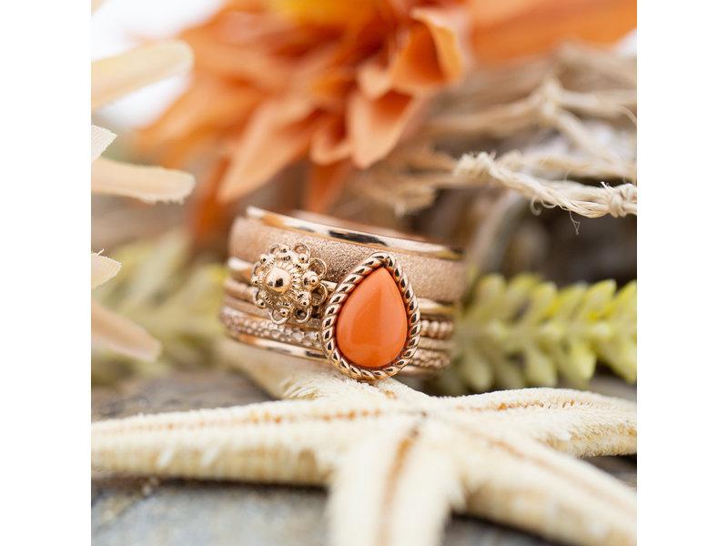 IXXXI Complete ixxxi rosegoud ring met koraal druppel en zeeuwse knop