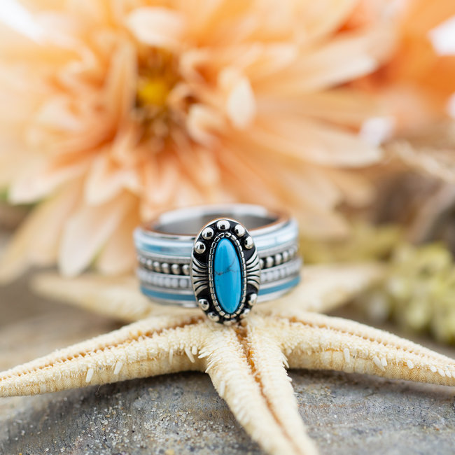 IXXXI Complete ring turquoise ovaal steen