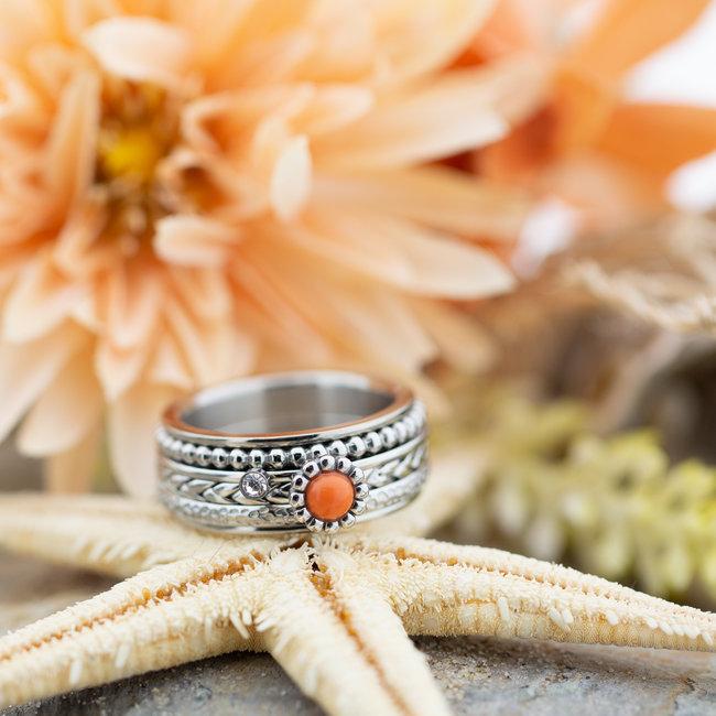IXXXI Complete ring koraal ronde steen