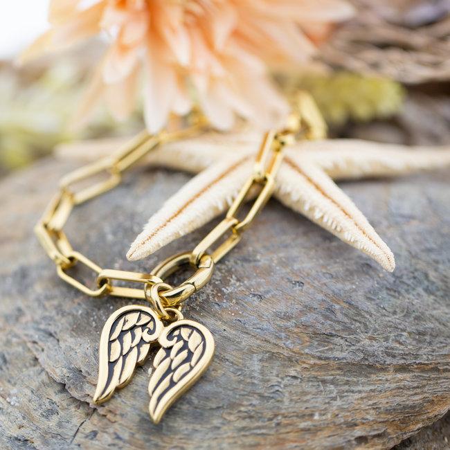 IXXXI Goud armband met vleugel hanger