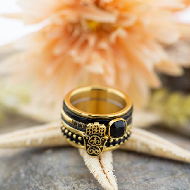 IXXXI Complete ring goud met zwarte steen en bohohand