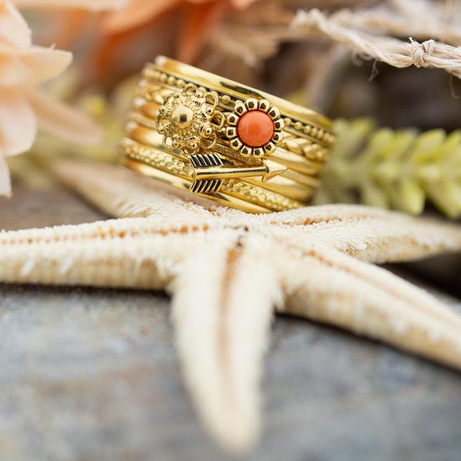 IXXXI Complete ring goud koraal pijl en zeeuwse knop
