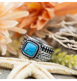 IXXXI Complete ring vierkante turquoise steen ring