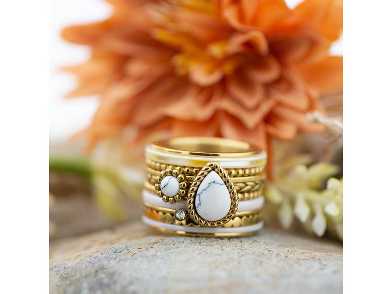IXXXI Complete ixxxi goud ring met witte druppel