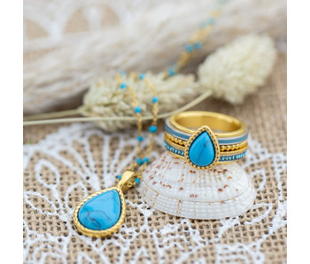 IXXXI Complete set goud turquoise ring en ketting