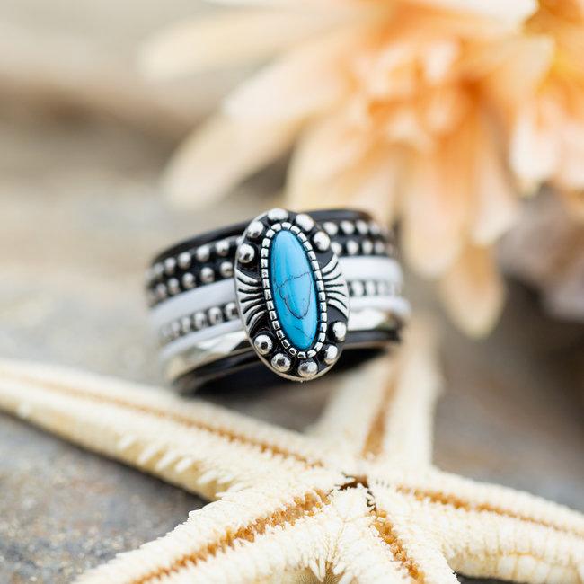 IXXXI Complete ring Blauw wit boho