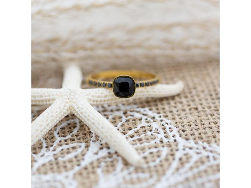IXXXI Ixxxi ring goud met zwarte steen