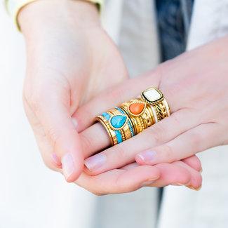 IXXXI Goud ring met steen boho