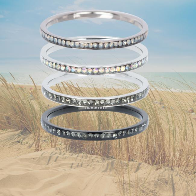 IXXXI aanschuifring zirconia AB crystal zilver 2mm