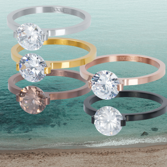 IXXXI aanschuif ring  2mm glamour stone