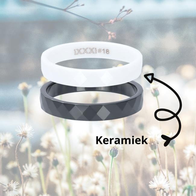 IXXXI aanschuif ring wit keramiek facet 4mm