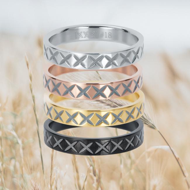 IXXXI Aanschuifring 4mm X Row zilver, zwart,goud of rosegoud