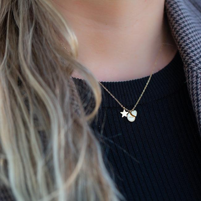 ZAG  Bijoux Gouden ketting met mum, sterretje en hartje