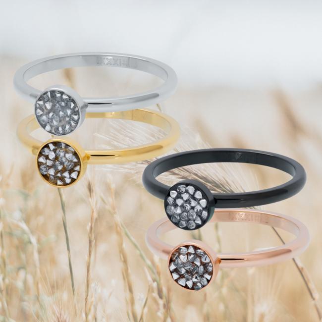 IXXXI Aanschuifring cup stones zilver, goud rosegoud of zwart