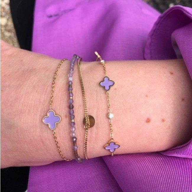 ZAG  Bijoux Armbanden paars met klaver of muntje