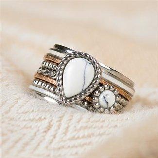 IXXXI Zilveren ring met rosé goud en wit