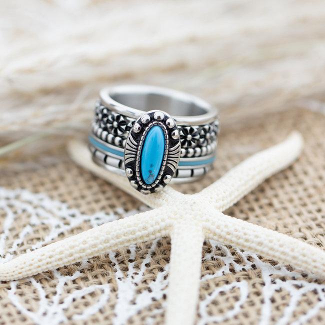 IXXXI Complete ring zilver met turquoise en flowers