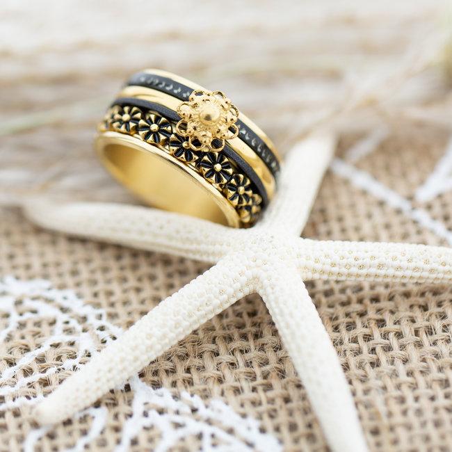 IXXXI Complete ixxxi ring goud met zwart zeeuwse knop flowers