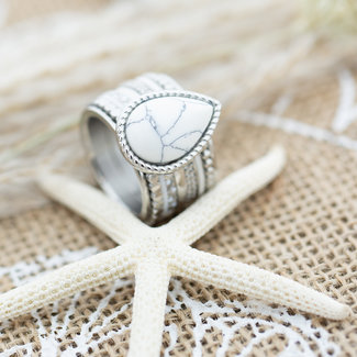 IXXXI Complete ring zilver bohemian druppel wit