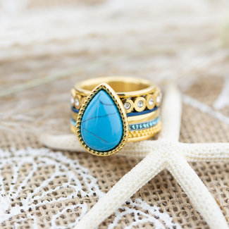 IXXXI Complete goud ring met turquoise grote druppel
