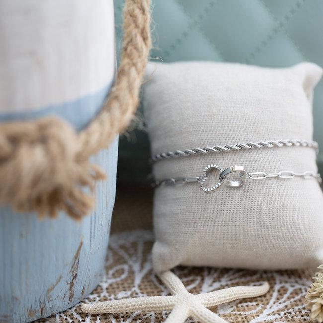ZAG  Bijoux Zilver armband hart en gevlochten armband