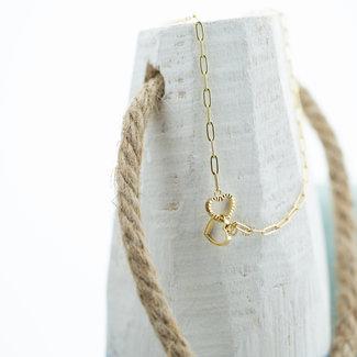 ZAG  Bijoux Gouden ketting verbonden harten