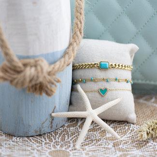 ZAG  Bijoux Gouden armband turquoise bedel en hartje