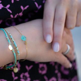 Go Dutch Label Armbandje met klaver of dubbele armband turquoise