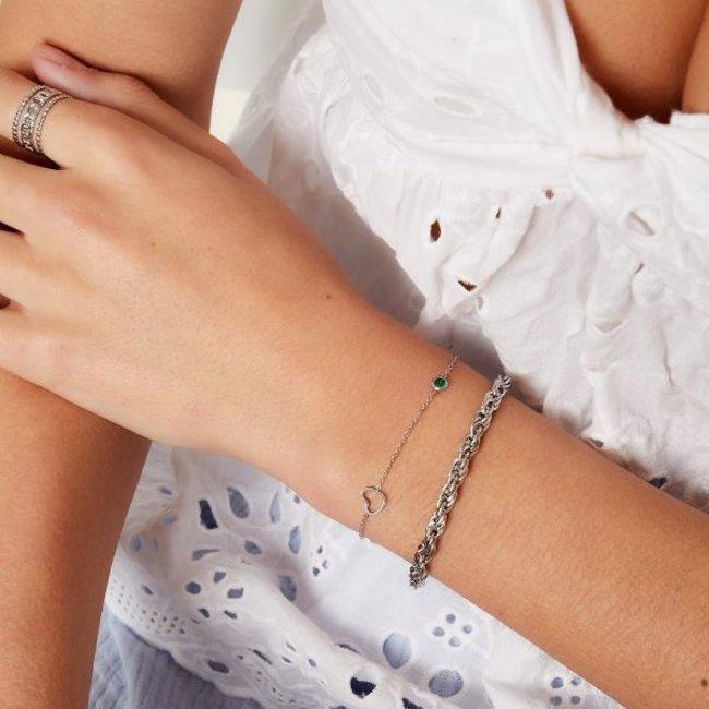 Beadle Birthstone armband zilver