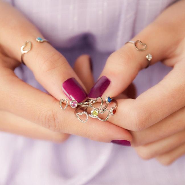 Beadle Birthstone zilver ring
