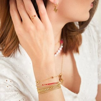 Beadle Birthstone armband goud