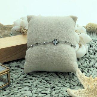 ZAG  Bijoux Zilveren armband met bolletjes en klaver