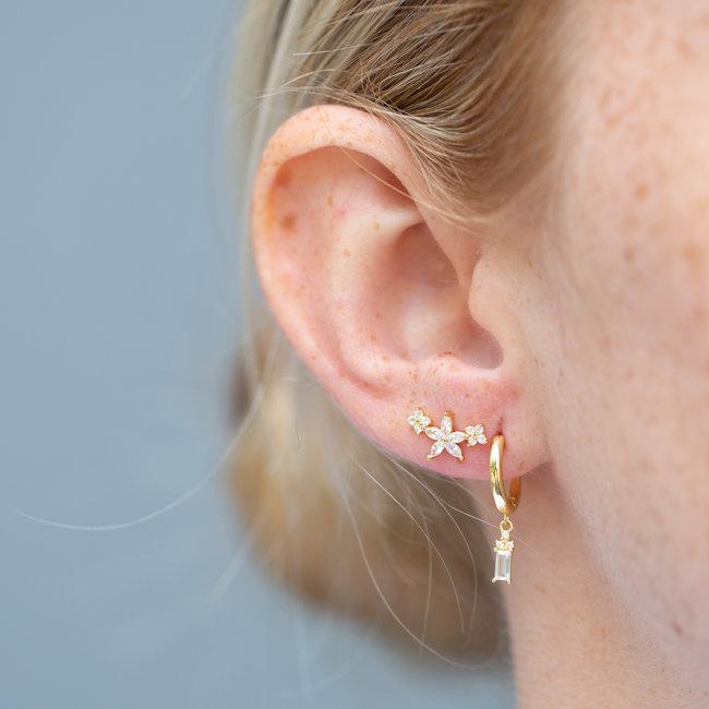 KARMA Gouden oorbellen creool of oorsteker met kristal