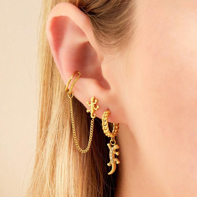 Beadle Gouden oorbellen met salamander