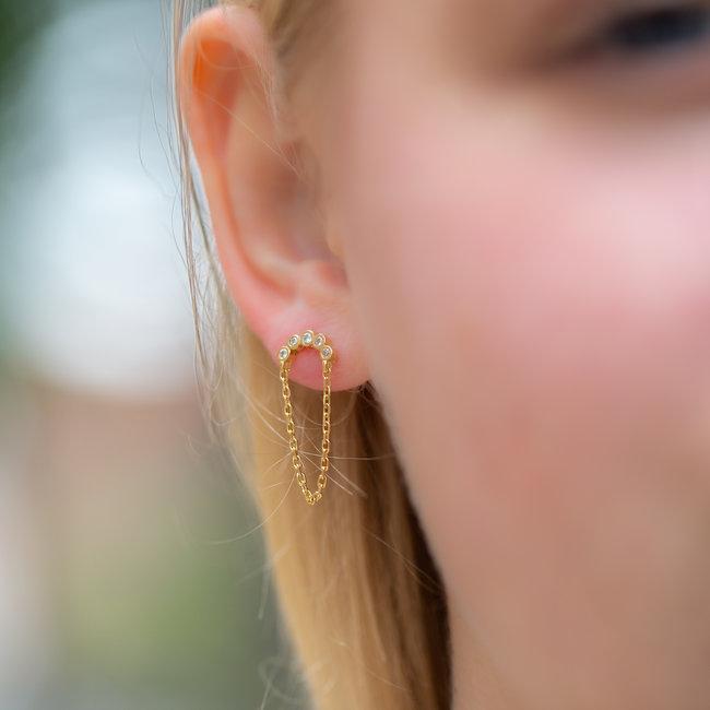 KARMA Gouden oorbellen met ketting