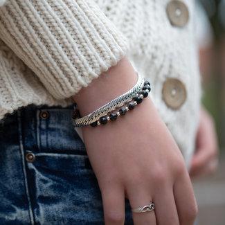 Biba Schakel en kralen armband zilver