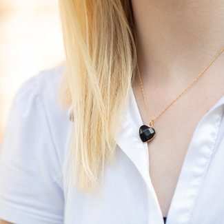 Biba Gouden ketting met zwart natuursteen hart