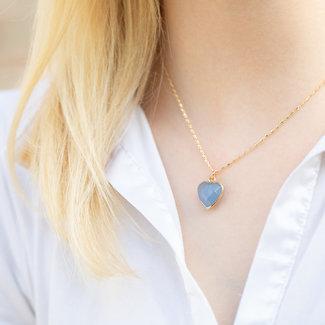 Biba Gouden ketting met blauw natuursteen hart