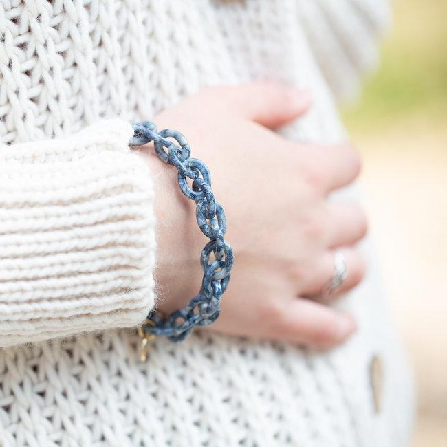 Biba Blauwe link schakel armband