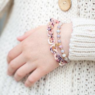 Biba Lila roze resin armband set