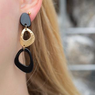 Biba Zwarte schijf oorbellen