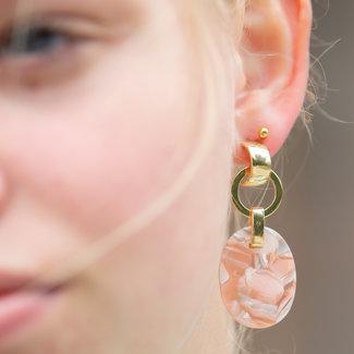 Biba Gouden oorbel met marmer roze steen