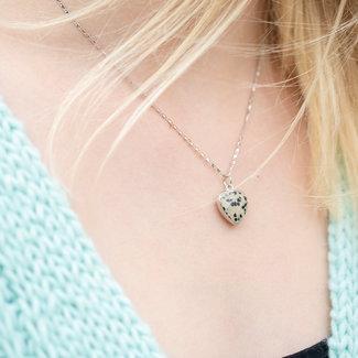 Biba Zilverkleur ketting met dalmatian jasper hart