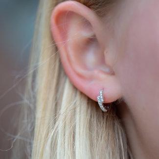 KARMA Echt zilver crystal oorbellen ongelijk
