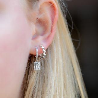 KARMA Zilver retro rechthoek oorbellen of gedraaide creolen