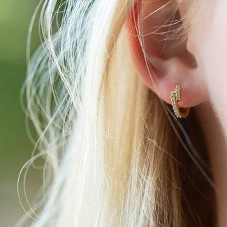 KARMA Echt zilver goldplated oorbellen ongelijk met zirconia
